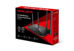 Black Mercusys Ac12g Ac1200 Wireless Dual Band Gigabit Router, For Home & Office