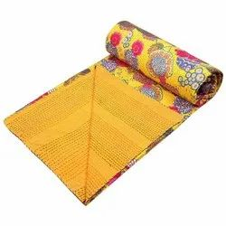 Cotton Bedspread Kantha Bedcover Yellow Tropical Fruit Print Hand Stitched Ethnic Bedding Quilt
