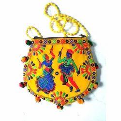 Yellow Embroidered Handicraft Handbag