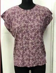 Ladies Round Neck Sleeveless Printed Cotton Top
