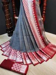 Silver Doriya Rich Pallu saree