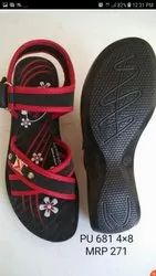 Casual Wear Red And Black Casual Ladies Sandal, Size: 5-8, Packaging Type: Box