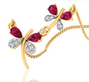 Unique Butterfly Design Charm Diamond Pendant, 2.2 Grams