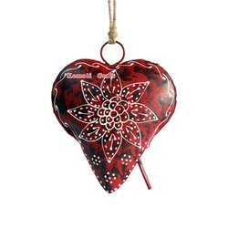 Iron Sheet Cow Bell in Heart Shape - Cone Painting Pattern