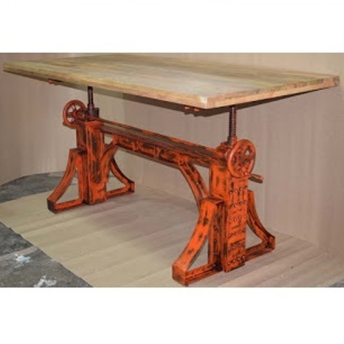 Wooden And Metal Industrial Rustic Crank Dining Table