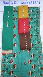 Party Wear Unstitched Suit with Embroidery Dupatta