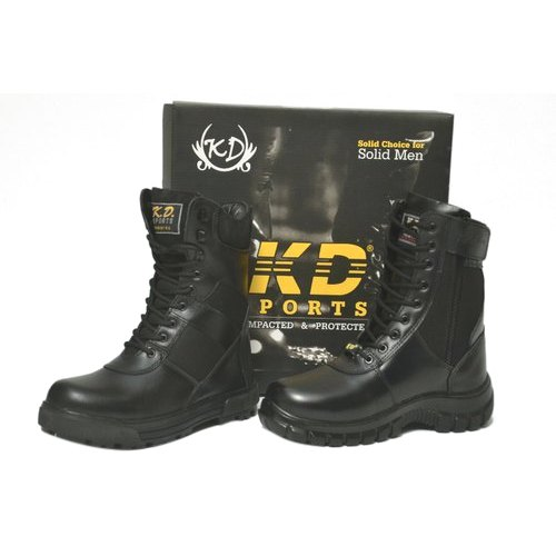 Mens Black High Ankle Army Shoes
