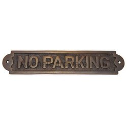 No Parking Brass Sign