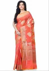Pink Silk Blend Zari Work Banarasi Saree