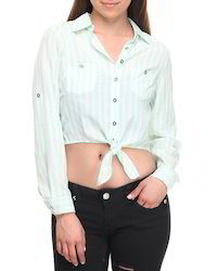 V-Neck Casual Front Roll Sleeve Strip Cotton Top