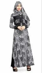 Women's Abaya with Floral Embroidery And Black Diamond Stone Work