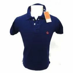 Cotton Plain Mens Blue T-Shirts, Packaging Type: Packet