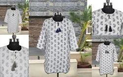 Casual Wear 3/4Th Sleeves Cotton Tops / Kurtis