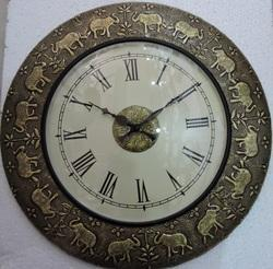 Elephant Design Brass Fitted Clock