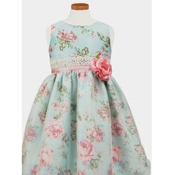 Girls Printed Satin Dress