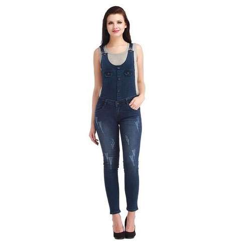 6413aacee05 Denim Dark Blue Ladies Dungaree