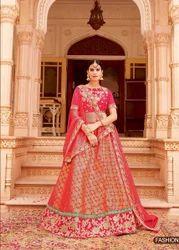 Jacquard Embroidered Ethnic Wedding Wear Lehenga