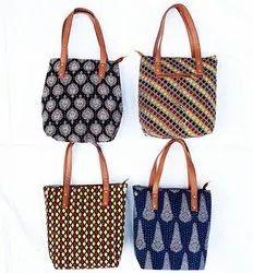 Little India Multicolor Kantha Work Batik Print Tote Bag, Size: Lxbxh 15x12x2 Inches