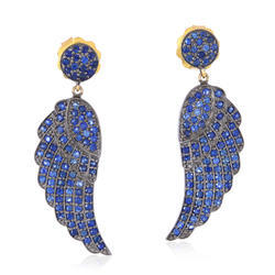 Blue Sapphire Gold 925 Silver Dangle Earring