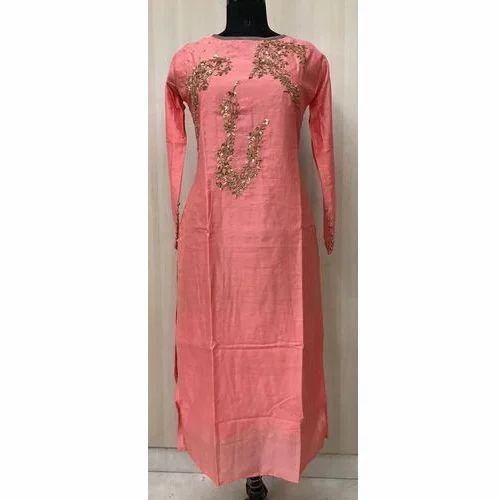 8b65f9f402 Silk Chanderi Long Straight Pattern Party Wear Kurti with Handwork & Side  Slit