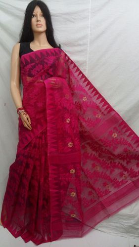 0a8694247bdf5 Cotton Pink Dhakai Jamdani Saree Without Blouse Piece