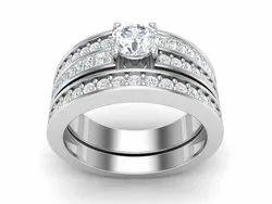 925 Sterling Silver Platinum Platting Wedding Ring