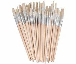 Artist Hog Hair Flat White Bristle Painting Brush - Set of 12