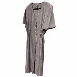 Casual Wear Plain Ladies Fleece One Piece Dress
