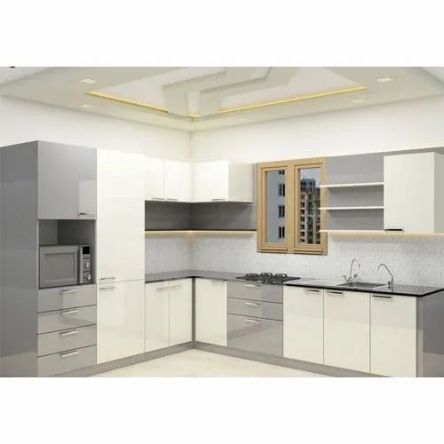Wooden L Shape L Shaped Modern Kitchen Kitchen Cabinets Rs 900 Square Feet Id 21309564430