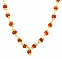 Kesar Zems Wooden Rudraksha Mala (7 cm x 6 cm x 1 cm, Gold & Brown)
