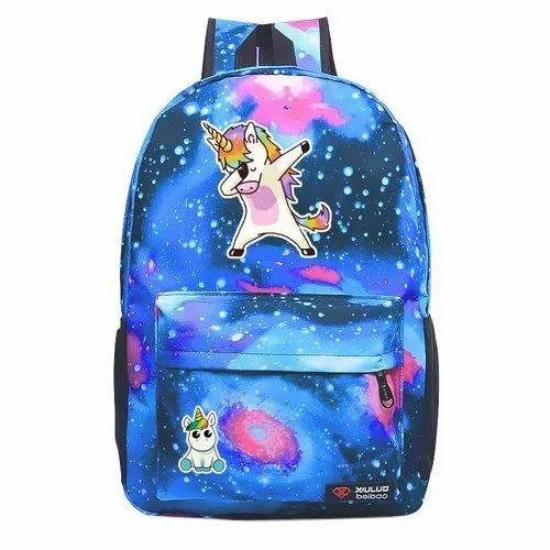 Polyester Sky Blue Printed School Kids Backpack Bag