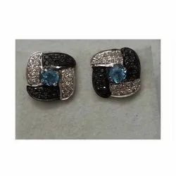 925 Sterling Silver Black Diamond Stud Earring for Woman