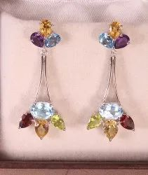 Multi Colour Natural Semi Precious Cut Stone Earring in Silver