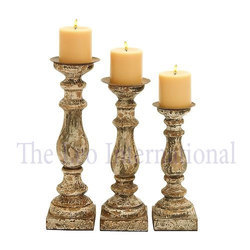 Decorative set of 3 Wooden Candle Stand