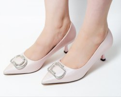 Dech Barrouci Party Wear Glitz Pink Low Heels Ladies Sandal