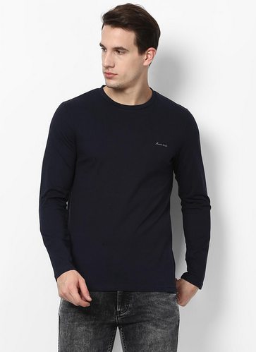 361fe4dccd5 Navy Cotton Rich Navy Blue Solid Round Neck Winter Tshirt