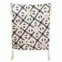 Cotton Handblock Printed Slub Yarn Embroidery Throw With Tassel