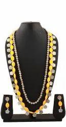 Classy Statement Necklace Yellow Ceramic Beads