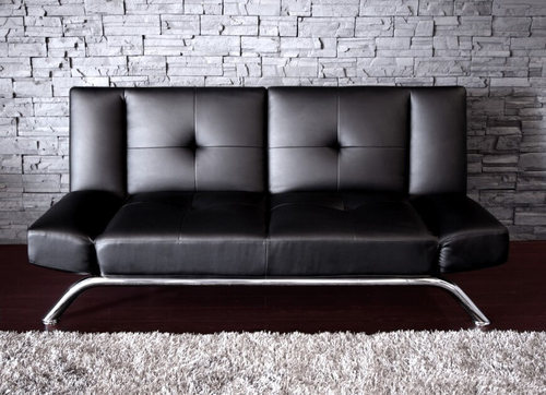 VR Furniture Black 2-Seater Sofa, Warranty: 2 Year