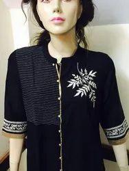 Black Rayon Embroidered Kurti