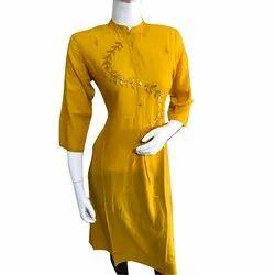 Yellow Rayon Gotta Patti Kurti