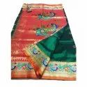6.5 M Embroidered Ladies Party Wear Brocade Hand Work Paithani Sarees, With Blouse Piece