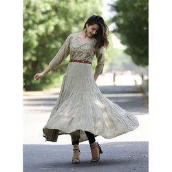 Ladies Embroidered Anarkali Cotton Kurti
