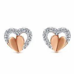 Heart Shape Stud Diamond Earring 14k Rose Gold, Packaging Type: Box
