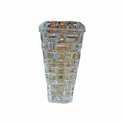 Glossy Round Designer Glass Flower Vase for Decoration, Packaging Type: Box