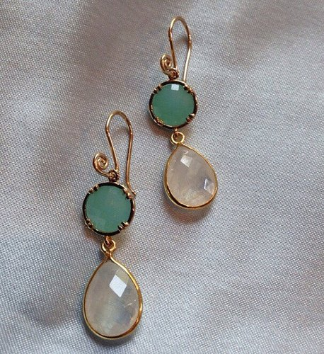 Moonstone Earrings with Mint