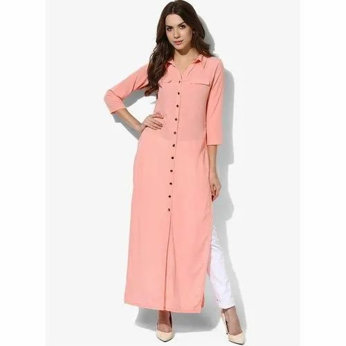 Cotton Casual Wear Ladies Designer Kurtis, Handwash