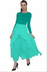 Sea Green American Crepe Ruffel Palazzo Skirt