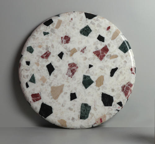 Marble Terrazzo Tile In White Base Size Large 12 Inch X