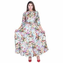 Party Wear 3/4th Sleeve Lavanya Satin Semi Anarkali Printed Kurti, Wash Care: Dry clean